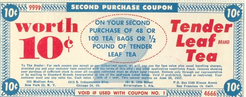 Tender Leaf Tea Coupon from Flickr User AVI